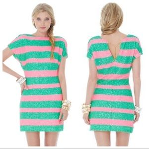 Lilly Pulitzer Ames Dress Sequin Cucina Stripe